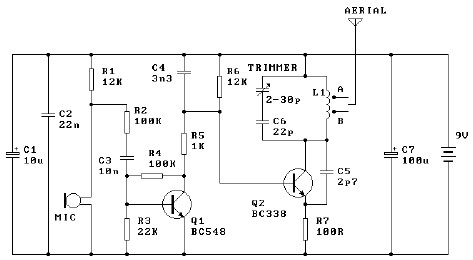 9 volts circuit diagram transmitter