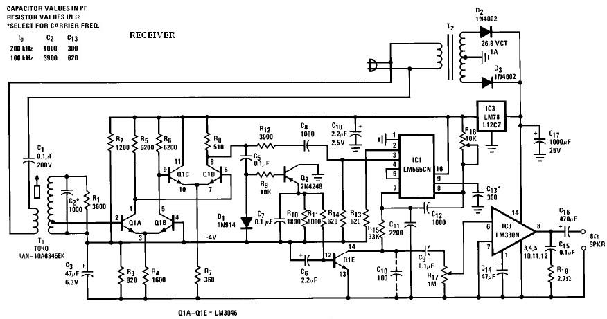 Wireless speaker system receiver circuit using LM565 LM566