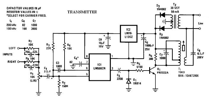 Wireless speaker system transmitter circuit using LM565 LM566