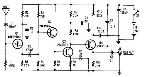 Active Antenna Circuit Diagram on mpf102 circuits
