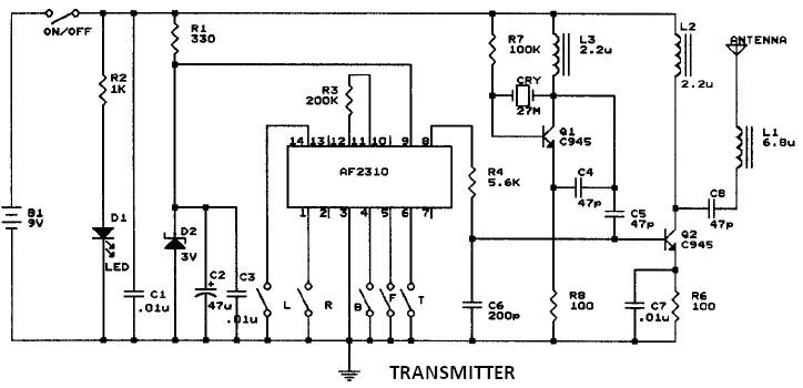 car ratio transmitter radio motor controller schematic 27mhz transmitter circuit diagram at mifinder.co