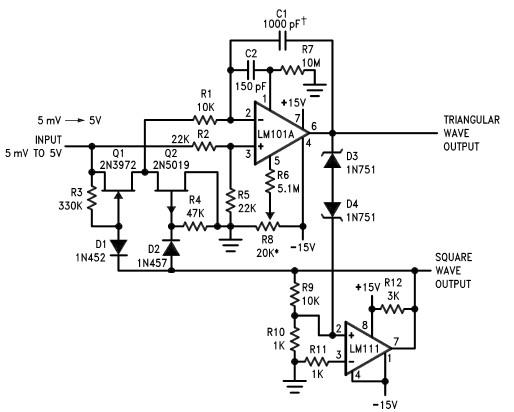 voltage controlled oscillator circuit using lm111