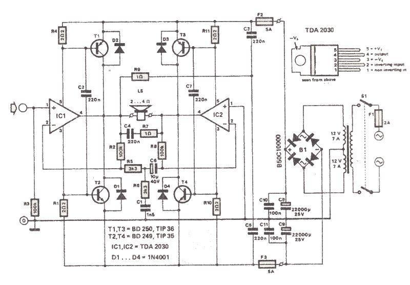 tda2030 200 watt amp electronic circuit