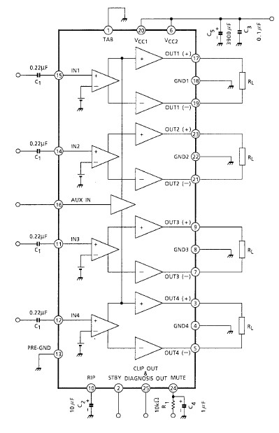 37 watts 4 channel car amplifier electronic project circuit diagram using  ta8259h