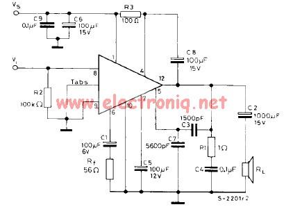TBA810 7W power amplifier circuit diagram
