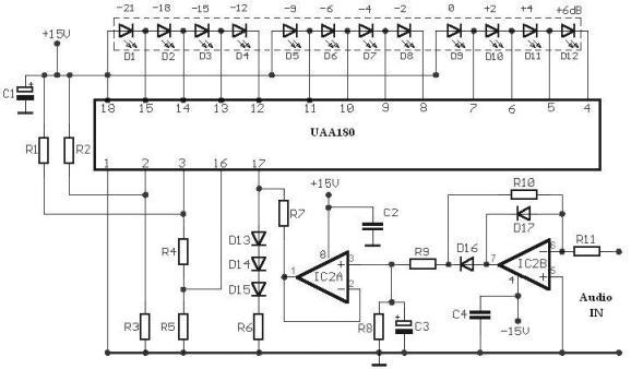 audio level meter using uaa180 led driver rh electroniq net
