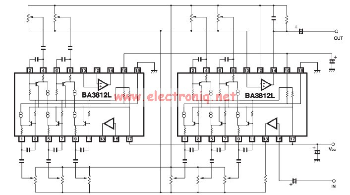 BA3812L graphic equalizer circuit diagram on