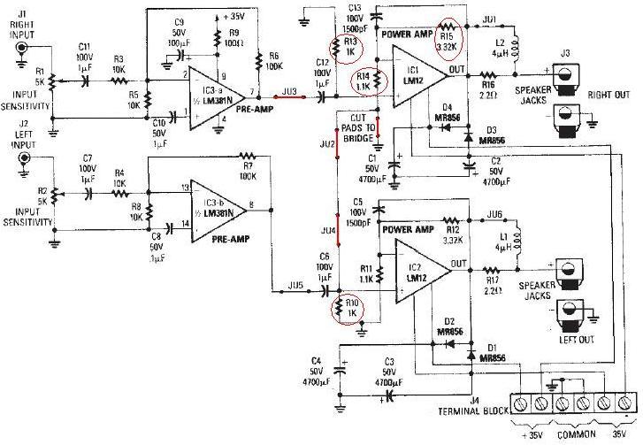lm12 high power audio amplifier circuit   60