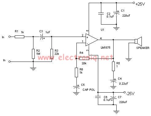 schema amplificator 25w cu lm1875. schema amplificator audio cu lm1875.