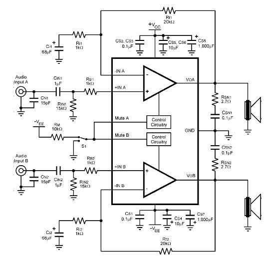 stereo audio lifier circuit