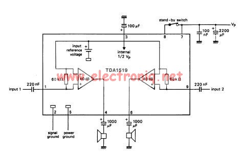 TDA1519 audio amplifier electronic circuit project