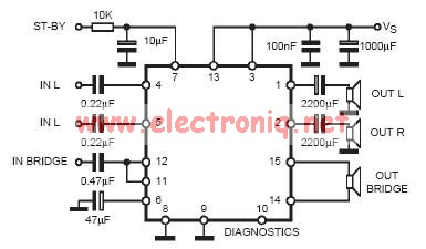 tda7377 stereo bridge circuit.