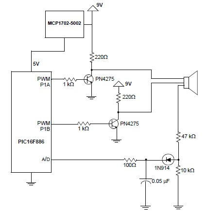 PIC16F886 horn driver schematic circuit