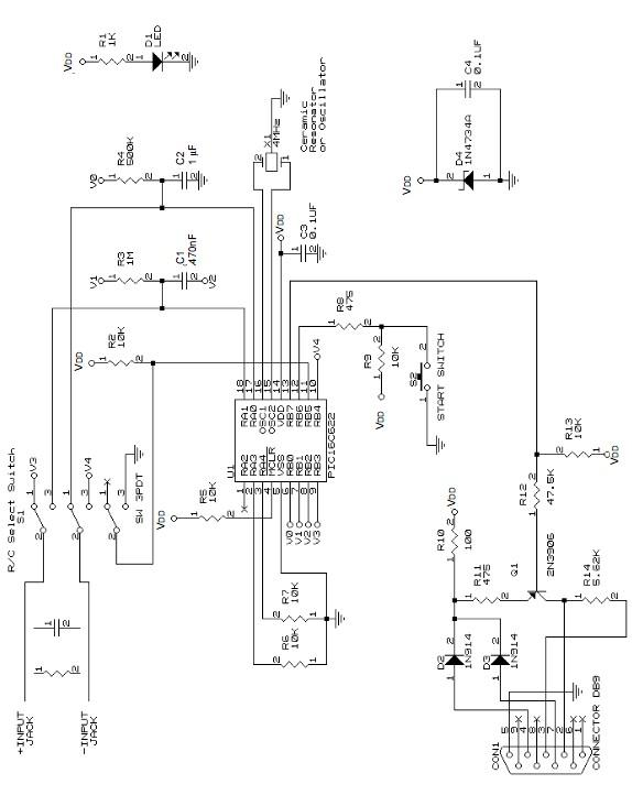 simple Pic meter schematic circuit diagram using pic16c22 microcontroller