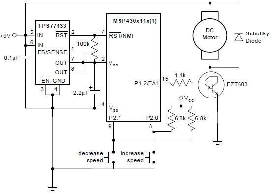 pwm dc motor control using msp430 microcontroller