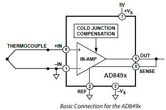ad849x amplifiers for j and k type thermocouples rh electroniq net Temperature Amplifrer Circuit Circuit Drawing