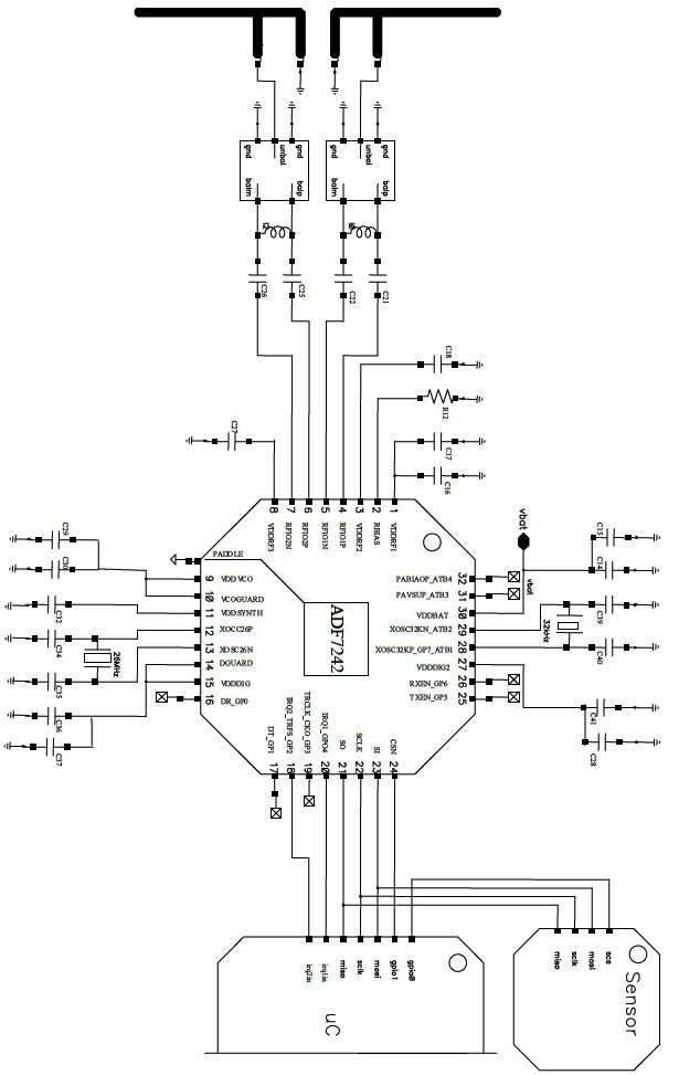 adf7242 low power transceiver circuit