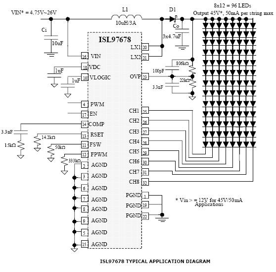 isl97678 8 channel led driver circuit