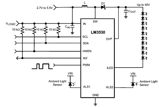 White LED driver circuit using LM3530