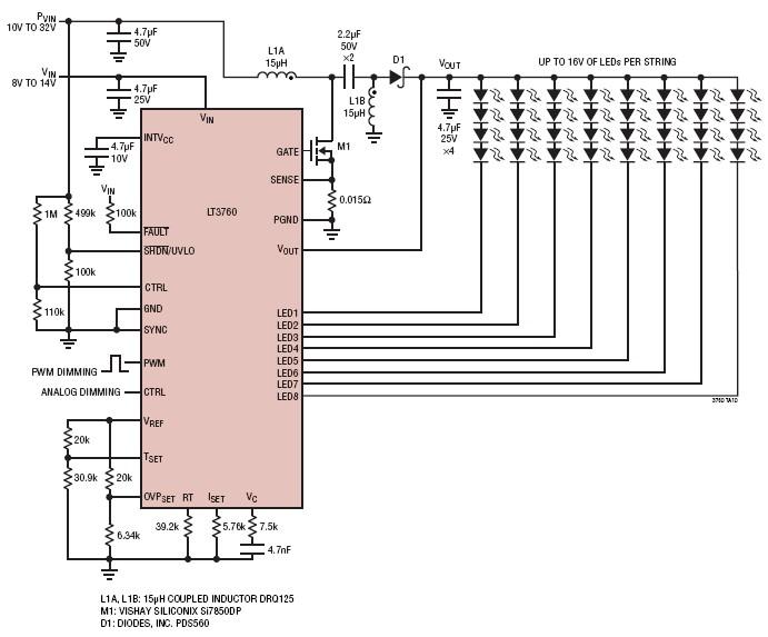 led driver circuit diagram the wiring diagram 8 channel led driver circuit using lt3760 circuit diagram