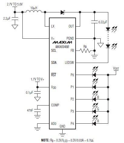 Pwm Led Driver Circuit Max6948b on Dc Boost Converter Circuit