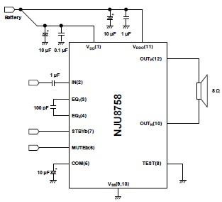 新日本无线(总部:東京都中央区 社长 平田一雄)现已开发完成了以模拟信号输入并能获得单声道1.5W输出的D级功率放大器 NJU8758,并已经进入了量产阶段。本产品最适于安防装置或便携式设备等,作为电池驱动设备(干电池驱动)的扬声器放大器使用。 【产品特点】 NJU8758是由PWM调制器、输出短路保护电路、电源电压监视电路等构成的模拟信号输入单声道D级功率放大器。