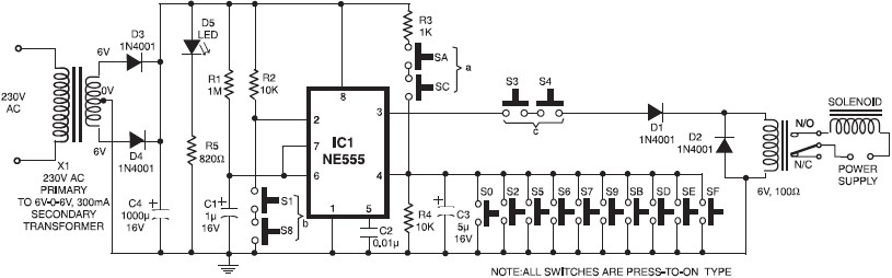 555 timer circuit electronic key code lock