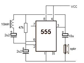 Metal detector schematic using 555 timer IC