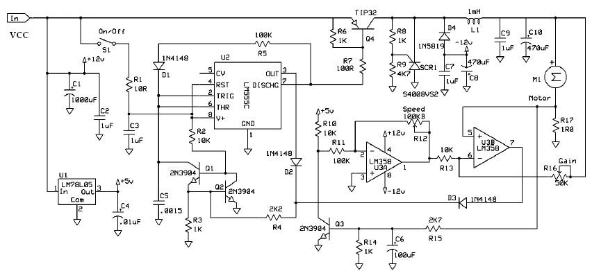 Dc Motor Speed Control Circuit Diagram Using 555 Timer