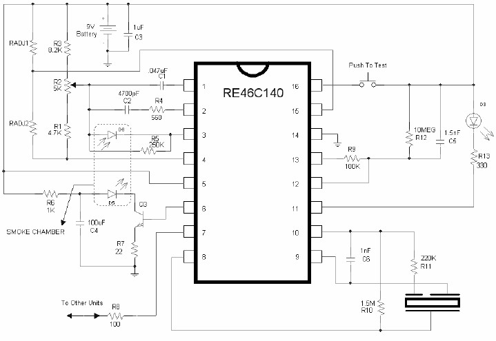 Simple Smoke detector alarm circuit diagram using RE46C140