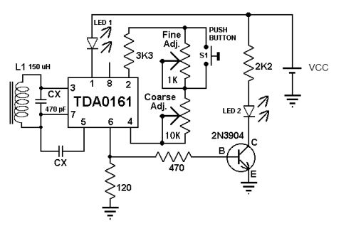 tda0161 metal detector circuit diagram