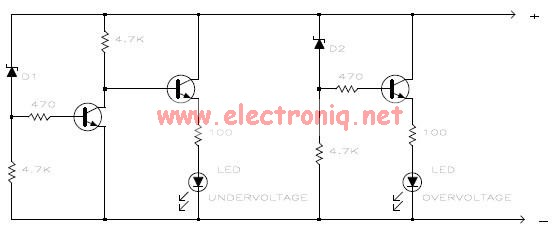 overvoltage and undervoltage monitor schematic circuit