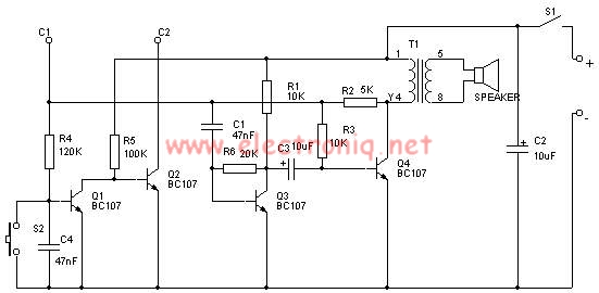 schema electronica alarma realizata cu tranzistori