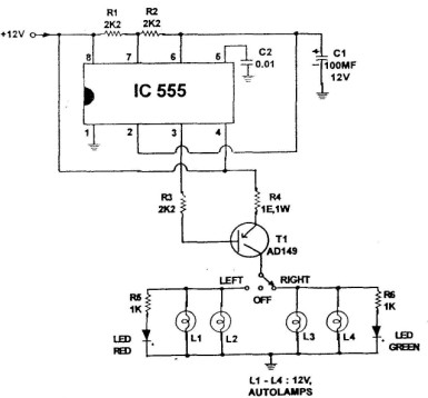 Auto Signalization Circuit on 1 watt led driver circuit