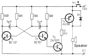 Electronic horn circuit schematic