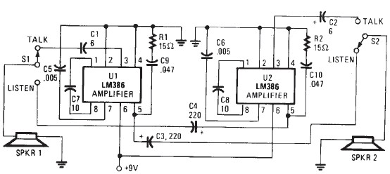 lm386 electronic intercom circuit