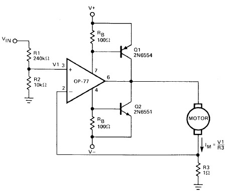 Motor driver electronic project using operational amplifier
