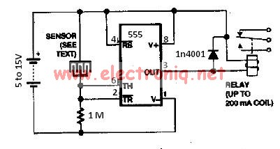 water sensor rain alarm using 555 timer circuit. Black Bedroom Furniture Sets. Home Design Ideas