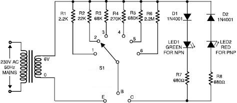 Transistor tester circuit project using common parts