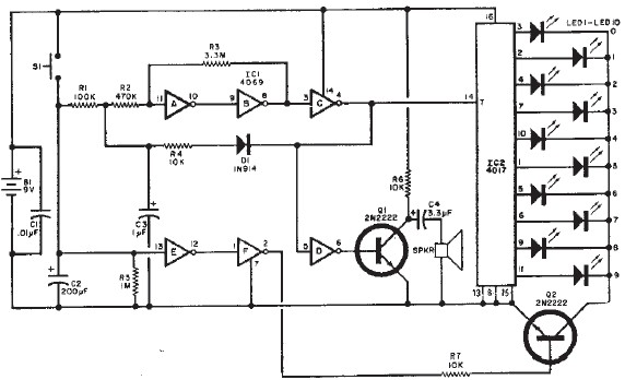 Wheel of Fortune electronic circuit