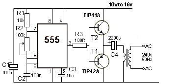 555 Timer 12v Power Inverter Circuit on wiring diagram of a power supply