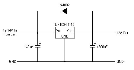 LM1084 12 volts    regulator    circuit for car