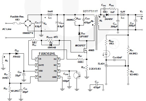 Fan302hl 5 Volt Switching Power Supply Circuit Diagram Project
