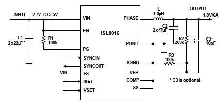 DC DC converter electronic circuit project can be designed using the ISL8016