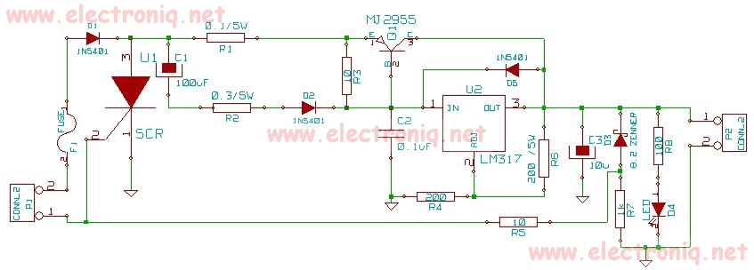 LM317 Laptop power supply circuit diagram