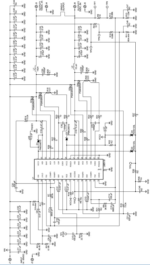 lm5119 10 and 5 volt high current power supply circuit diagram