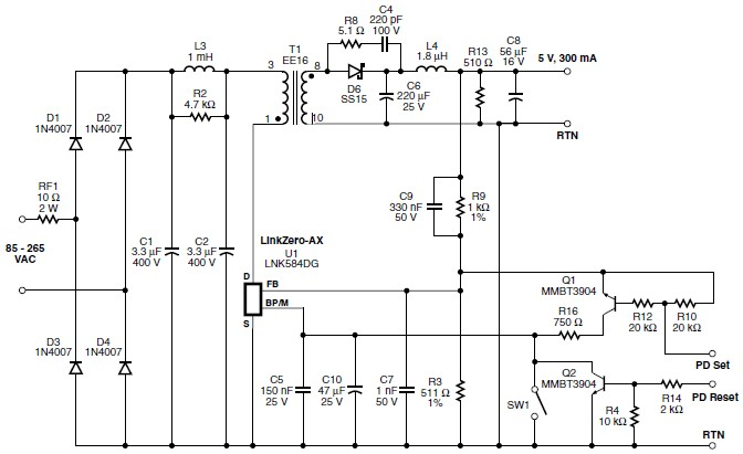 5 volt switching power supply circuit schematic using LNK584DG IC.