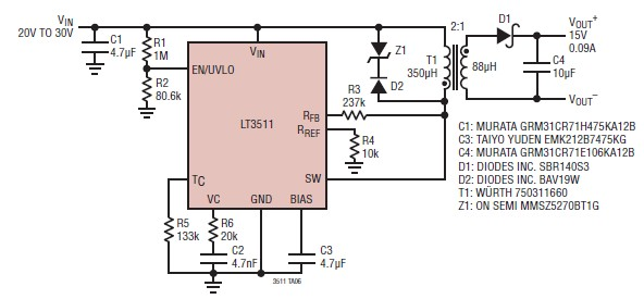 LT3511 15 volt power supply circuit electronic project