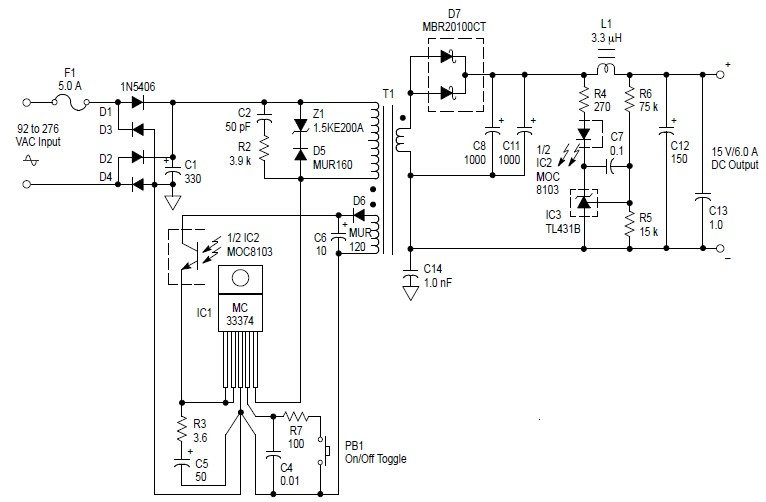 Switching Power Supply Schematic Diagram on 1 5v 2a power supply schematic diagram