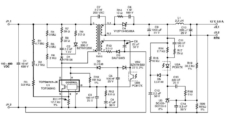 TOP265KG 12 V switching power supply circuit diagram on xbox one front panel schematic, 12v voltage regulator diagram, 12v adaptor schematic, single output switching power supply schematic, 12v dc wiring basics, 12v voltage regulator schematic, 0-50v 5a switching power supply schematic, 12v dc power supply,